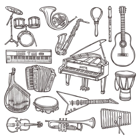 tuba: Music instruments sketch icon set with drum violin guitar isolated vector illustration