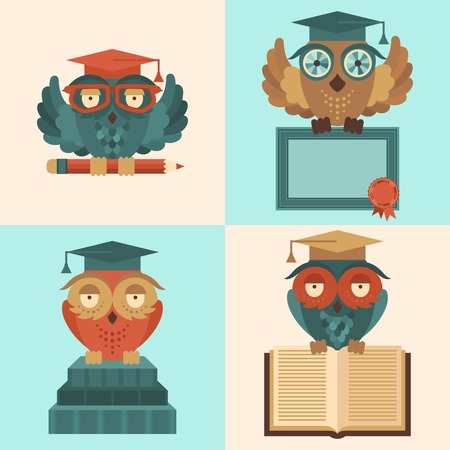 Flat colored owl in graduation caps with books and diploma silhouette set isolated vector illustration Vector