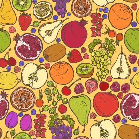 Natural organic organic fruits and berries seamless pattern vector illustration Vector