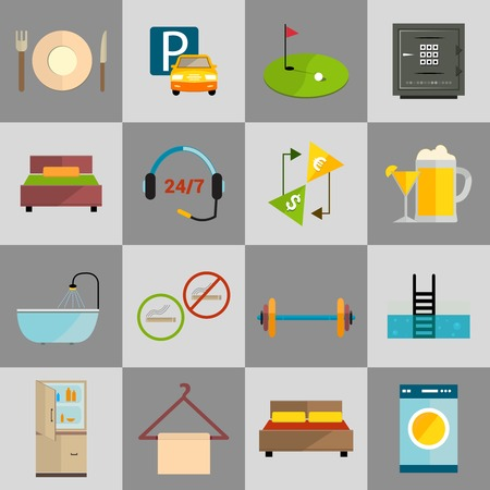amenities: Hotel amenities and room service icons of golf spa massage and bell isolated vector illustration. Illustration