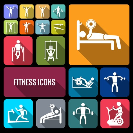 fitness center: Workout sport and fitness gym training decorative icons flat set of healthy man isolated vector illustration