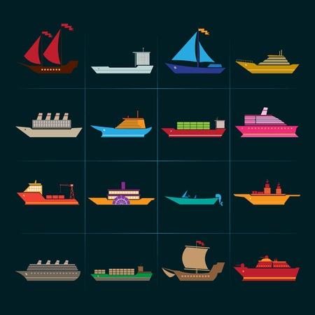 bateau de course: voiliers de croisière et bateaux de croisière icons set isolé illustration vectorielle