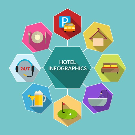 amenities: Hotel amenities and room service tourism flat infographic concept vector illustration
