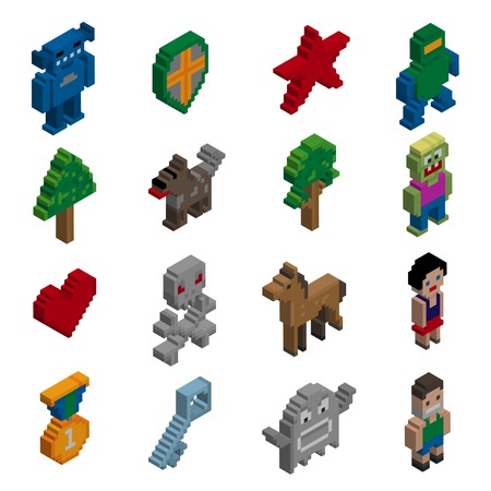 Video game cartoon pixel characters isometric icons set isolated vector illustration Vector