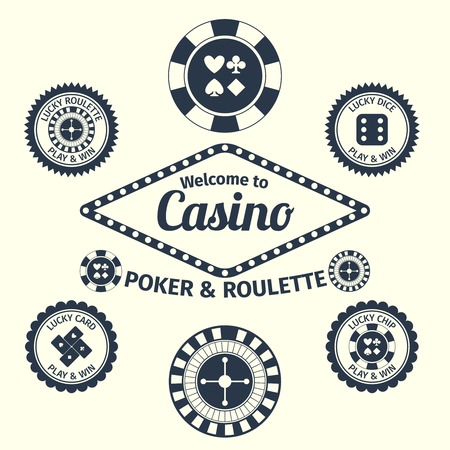 Casino lucky roulette play and win emblems set isolated vector illustration