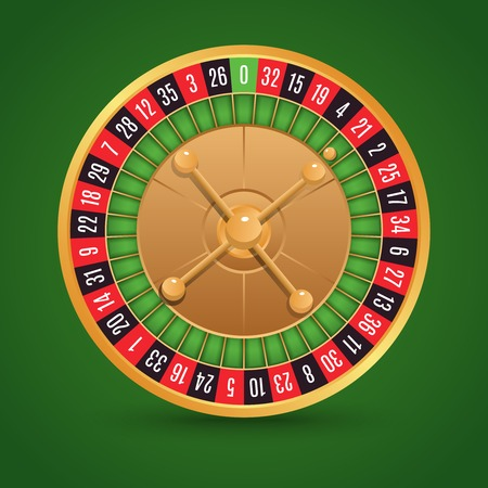 Realistic casino roulette isolated on green background vector illustration Vectores