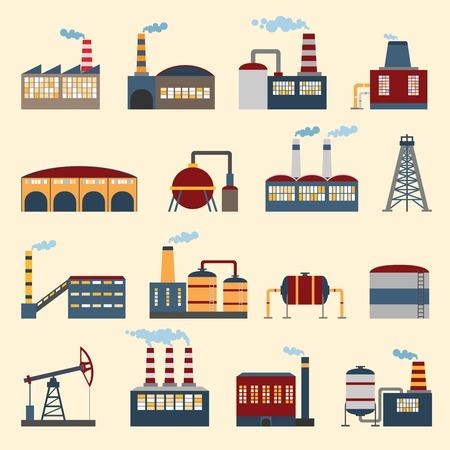 As fábricas da construção industrial e os ícones das plantas ajustados isolaram a ilustração do vetor.