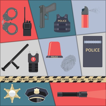 Police protect and serve special forces icons set isolated vector illustration Vector