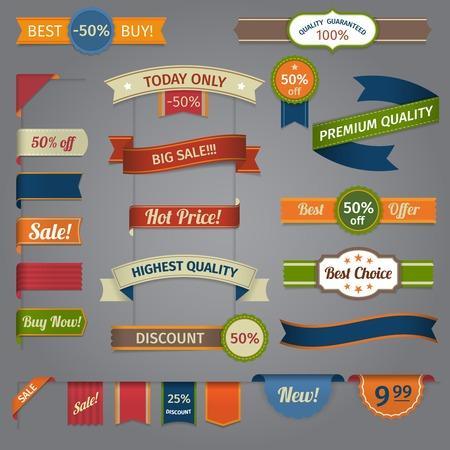 sticker label: Discount super sale special offer retro color ribbon set isolated vector illustration Illustration