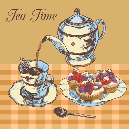 Old-fasioned english tea time restaurant country style poster with traditional teapot and cupcakes dessert vector illustration Vector