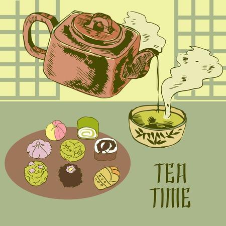 earthenware: La hora del t� japon�s tradicional ceremonia cartel del anuncio de la bebida verde matcha en polvo en barro ilustraci�n vector de la tetera