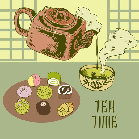 earthenware: Tea time japanese traditional ceremony advertisement poster with green powdered matcha drink in earthenware teapot vector illustration Illustration