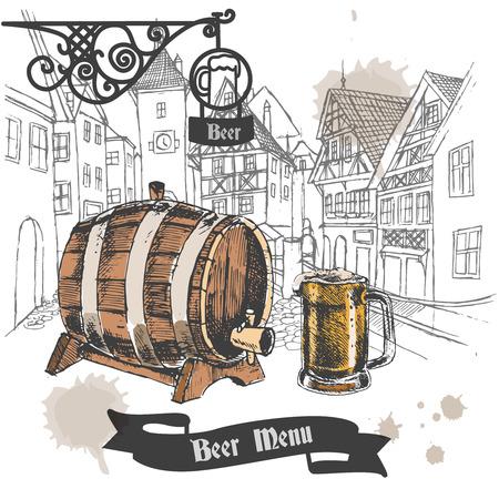 beer house: Beer bar retro style menu design advertising poster with oak barrel and full mug sketch vector illustration Illustration
