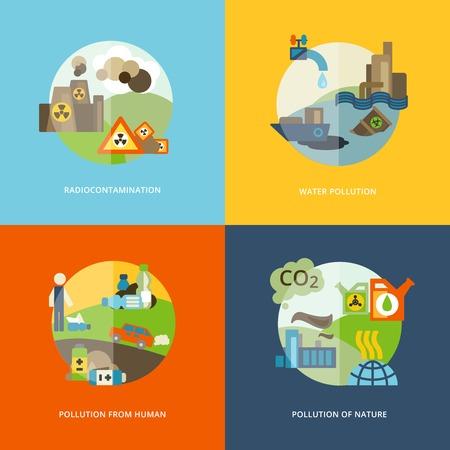 contaminacion del agua: Los efectos globales de medio ambiente composición iconos planos de contaminación que emana térmicas y químicas conjunto aislado ilustración vectorial abstracto