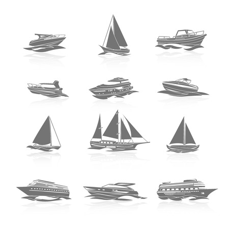 boat motor: Ocean cruise liner ship and sailboat yachts boats silhouettes black pictograms collection abstract graphic isolated vector illustration