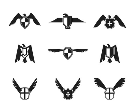 Eagle wings spread lift up and open symbolic protective imperial shield pictograms collection black isolated vector illustration. Ilustração
