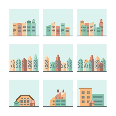 Residential industrial and modern central city business areas cityscape street view flat icons collection isolated vector illustration Vector