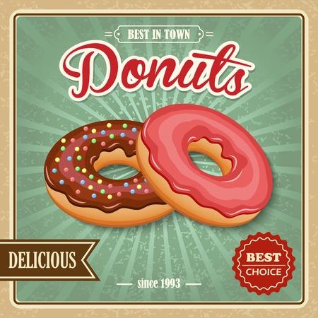 застекленный: Вкусный сахара остеклением тесто вкусный пончик десерт на кафе бумаги плакат векторной иллюстрации. Иллюстрация