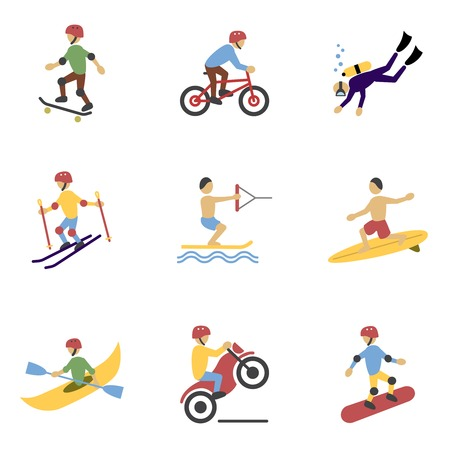 Vacation travel extreme sports icons set of surfing biking rolling and  motorcycling flat vector illustration