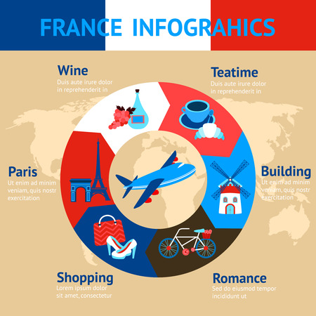 teatime: Paris infographic set with pie chart and teatime building romance shopping wine elements vector illustration Illustration