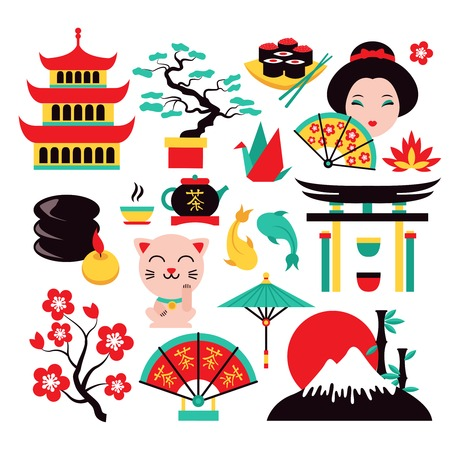 geisha: Japan symbols set with traditional food and travel icons isolated vector illustration