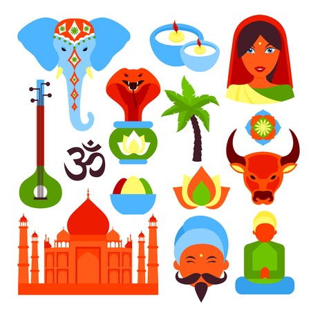 indian spices: India travel culture religion symbols set isolated vector illustration