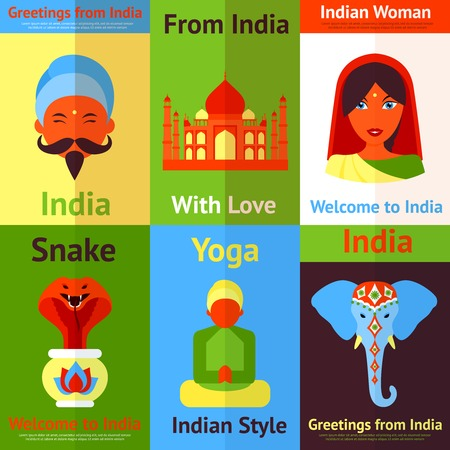 lady cow: India travel culture religion yoga symbols mini posters isolated vector illustration
