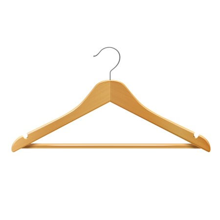 Clothes wooden hanger for jackets pants isolated 3d vector illustration Vector