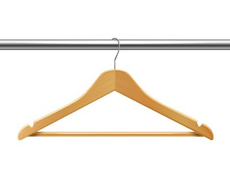 clothes hangers: Clothes wooden hanger on tube for jackets pants isolated 3d vector illustration Illustration