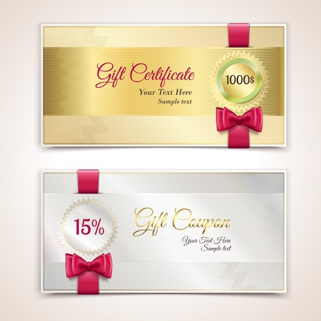Gift cardboard paper holiday certificate set with red bows and ribbons vector illustration
