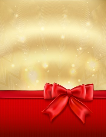 Golden holiday new year xmas background with red bow and ribbon vector illustration Vector