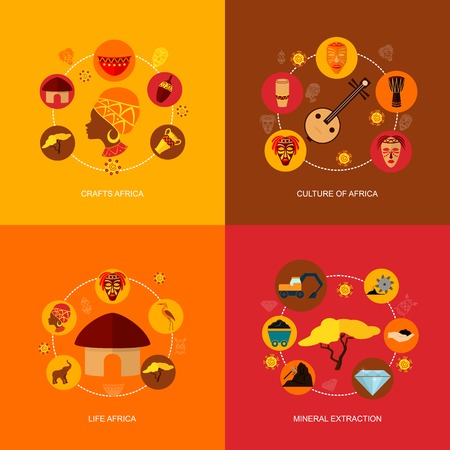 africa: Africa flat icon composition with crafts culture life mineral extraction isolated vector illustration