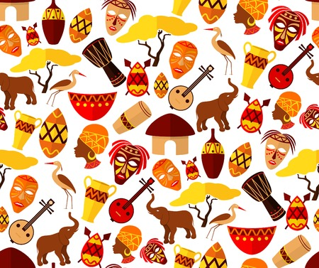 djembe: Africa jungle ethnic tribe travel seamless pattern vector illustration