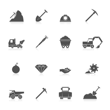 coal truck: Mining coal gold and diamond industry black icons set isolated vector illustration