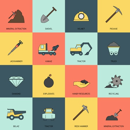 mining machinery: Mining and mineral extraction flat icons line isolated vector illustration