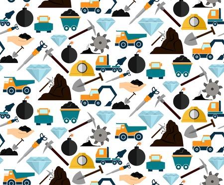 광업 및 광물 발굴 기계 및 장비의 원활한 패턴 벡터 일러스트 레이 션