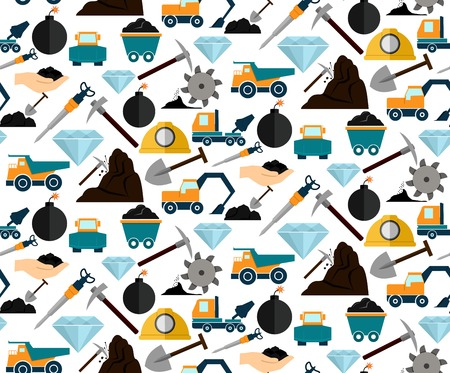 hand truck: Mining and mineral excavation equipment and machinery seamless pattern vector illustration Illustration