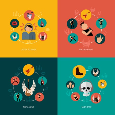 Hard rock music concert flat icons composition set isolated vector illustration Vector