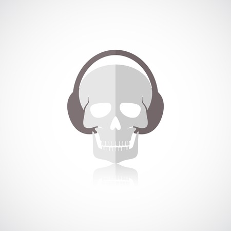 Human skull with headphones isolated on white background vector illustration Vector