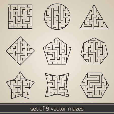 Maze labyrinth kids puzzle game set isolated vector illustration