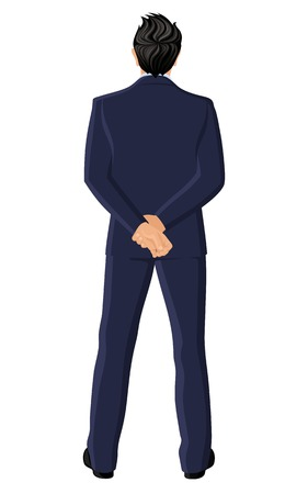 Businessman in suit full length hands back view portrait isolated on white background vector illustration