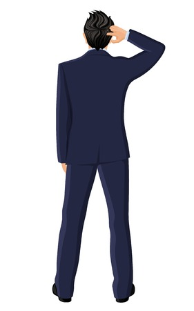 back view man: Businessman with hand in hair thinking full length back view portrait isolated on white background vector illustration Illustration