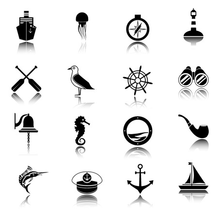 Nautical sea travel black icons set with ship compass lighthouse isolated vector illustration Vector