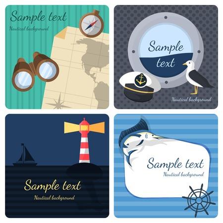 Nautische zee reizen mini posters ingesteld marine reis cruisevakanties geïsoleerd vector illustratie Stock Illustratie