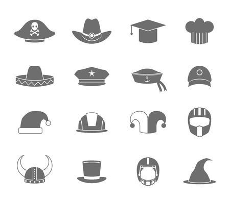 kapelusze: Nowoczesne i stare kapelusze i czapki czarne i białe ikony zestaw izolowanych ilustracji wektorowych