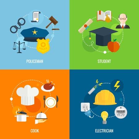 gorra polic�a: Composici�n profesi�n plana de conjunto con los estudiantes polic�a cocinar aislados electricista ilustraci�n vectorial