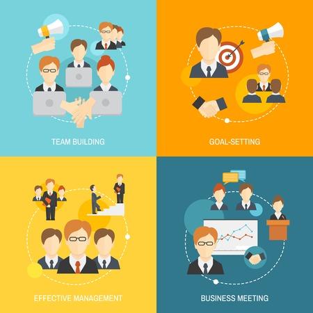 dirección empresarial: El trabajo en equipo de colaboración empresarial de gestión eficaz iconos composición plana conjunto aislado ilustración vectorial.