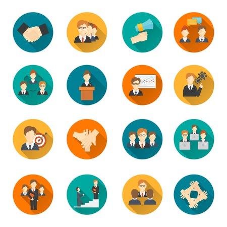 Trabajo en equipo de estrategia de negocio organización corporativa planas iconos de botones redondos conjunto, ilustración vectorial