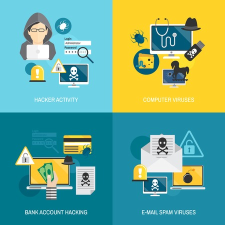 crimes: Hacker activity computer and e-mail spam viruses bank account hacking flat icons set isolated vector illustration