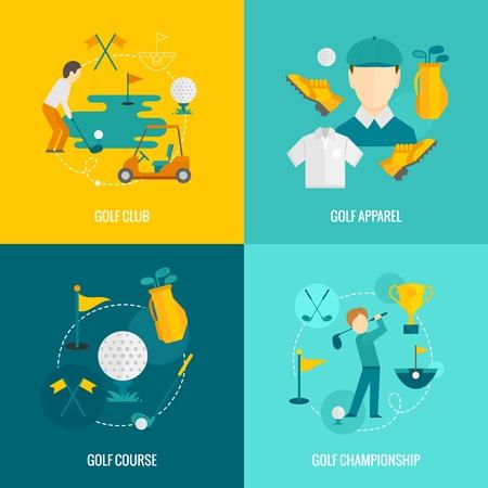 Golfclub kleding cursus en kampioenschap vlakke pictogrammen set geïsoleerd vector illustratie